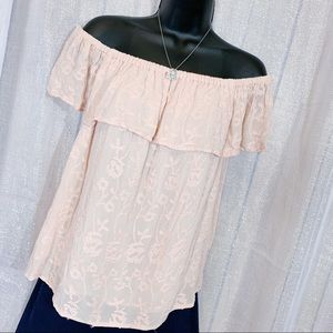 LUCKY BRAND 🍀 | Pastel lace cold shoulder blouse